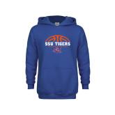 Youth Royal Fleece Hoodie-Stacked Basketball Design