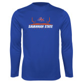 Syntrel Performance Royal Longsleeve Shirt-Football Field Design