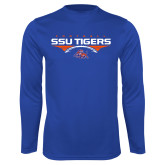 Syntrel Performance Royal Longsleeve Shirt-Stacked Football Design
