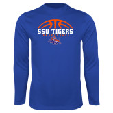 Syntrel Performance Royal Longsleeve Shirt-Stacked Basketball Design