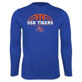Syntrel Performance Royal Longsleeve Shirt-Stacked Basketball Design