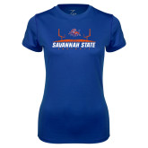 Ladies Syntrel Performance Royal Tee-Football Field Design