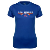 Ladies Syntrel Performance Royal Tee-Stacked Football Design