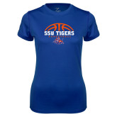 Ladies Syntrel Performance Royal Tee-Stacked Basketball Design