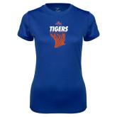 Ladies Syntrel Performance Royal Tee-Basketball Net Design