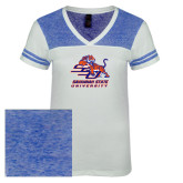 Ladies White/Heathered Deep Royal Juniors Varsity V Neck Tee-Official Logo