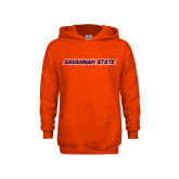 Youth Orange Fleece Hoodie-Wordmark