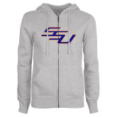 ENZA Ladies Grey Fleece Full Zip Hoodie-SSU