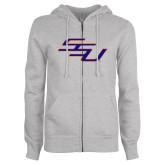 ENZA Ladies Grey Fleece Full Zip Hoodie-SSU
