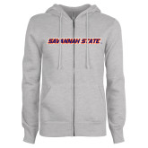ENZA Ladies Grey Fleece Full Zip Hoodie-Wordmark
