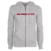 ENZA Ladies Grey Fleece Full Zip Hoodie-Wordmark