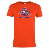 Ladies Orange T Shirt-Volleyball