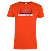 Ladies Orange T Shirt-Football Field Design