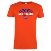 Ladies Orange T Shirt-Stacked Basketball Design