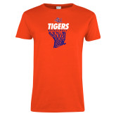 Ladies Orange T Shirt-Basketball Net Design