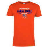 Ladies Orange T Shirt-Baseball Design