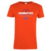 Ladies Orange T Shirt-Volleyball Design