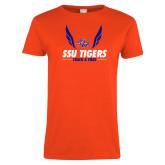 Ladies Orange T Shirt-Track & Field Design