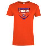 Ladies Orange T Shirt-Softball Plate Design