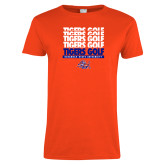 Ladies Orange T Shirt-Golf Design