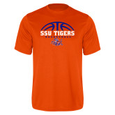 Performance Orange Tee-Stacked Basketball Design