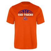 Performance Orange Tee-Stacked Basketball Design