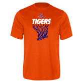 Performance Orange Tee-Basketball Net Design