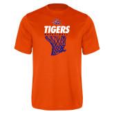 Performance Orange Tee-Basketball Net Design