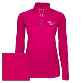 Ladies Pink Raspberry Sport Wick Textured 1/4 Zip Pullover-SSU