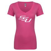 Next Level Ladies Junior Fit Ideal V Pink Tee-SSU