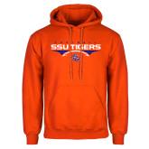 Orange Fleece Hoodie-Stacked Football Design