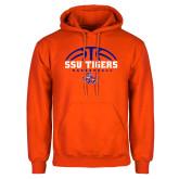 Orange Fleece Hoodie-Stacked Basketball Design