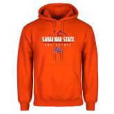Orange Fleece Hoodie-Volleyball Design