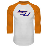White/Orange Raglan Baseball T Shirt-SSU