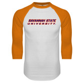 White/Orange Raglan Baseball T Shirt-Horizontal Mark