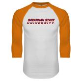 White/Orange Raglan Baseball T Shirt-Horizontal Mark