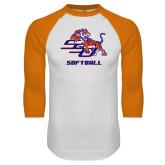White/Orange Raglan Baseball T Shirt-Softball