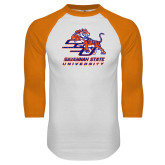 White/Orange Raglan Baseball T Shirt-SSU w/ Tiger Savannah  State University Stacked Distressed