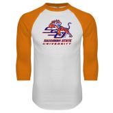 White/Orange Raglan Baseball T Shirt-SSU w/ Tiger Savannah  State University Stacked Distressed