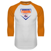 White/Orange Raglan Baseball T Shirt-Softball Plate Design