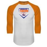 White/Orange Raglan Baseball T Shirt-Softball Plate Design