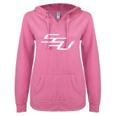 ENZA Ladies Hot Pink V Notch Raw Edge Fleece Hoodie-SSU