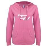 ENZA Ladies Hot Pink V Notch Raw Edge Fleece Hoodie-SSU