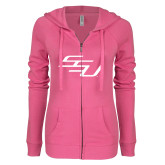 ENZA Ladies Hot Pink Light Weight Fleece Full Zip Hoodie-SSU