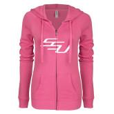 ENZA Ladies Hot Pink Light Weight Fleece Full Zip Hoodie-SSU
