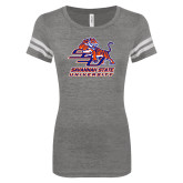 ENZA Ladies Dark Heather/White Vintage Triblend Football Tee-Official Logo