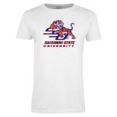 Ladies White T Shirt-SSU w/ Tiger Savannah  State University Stacked Distressed