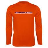 Syntrel Performance Orange Longsleeve Shirt-Wordmark