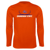 Performance Orange Longsleeve Shirt-Football Field Design