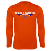 Performance Orange Longsleeve Shirt-Stacked Football Design